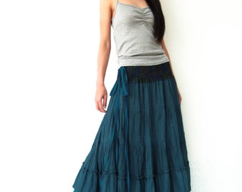 NO.36   Deep Teal Cotton Tiered Peasant Skirt, Long Maxi Skirt