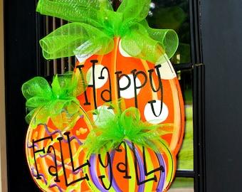 Fall Wreath, Fall Door Hanger, Pumpkin Door Decoration, Fall Home Decor, Halloween Wreath, Halloween Pumpkin, Halloween Decor