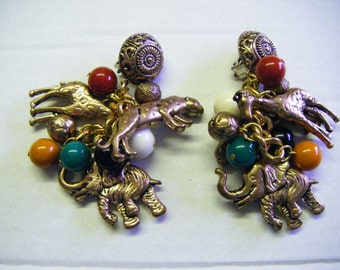 Unique Vintage Clip Earrings With Elephants Giraffes Leopards and Beads