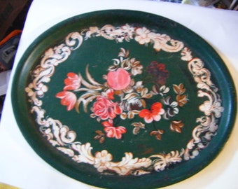 Beautiful Antique Victorian Hand Painted Toleware Metal Platter Tray Signed By Artist BM Clark 43