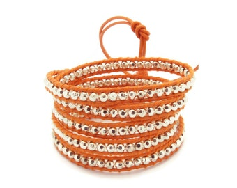 Wrap Bracelet  Orange Leather - Silver Beads -  Christmas Special