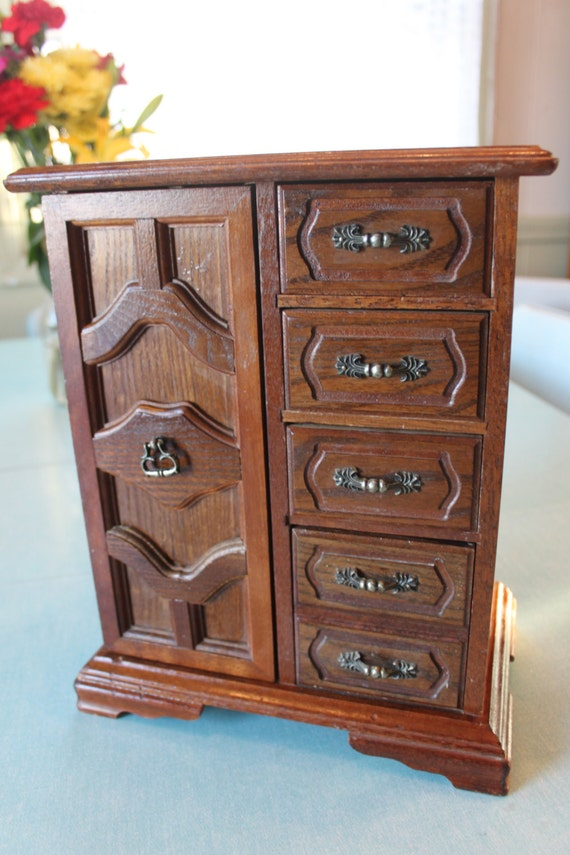 large solid wood jewelry box chest armoire cabinet with pull