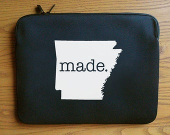 Arkansas AR  'Roots'  or  'Made' Neoprene Laptop Sleeve 13 or 15 inches