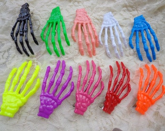 SALE--10 pcs (10 colors) skeleton hand hair clips Mixed colors