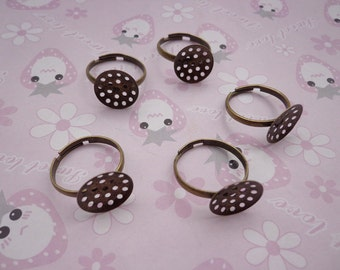 SALE--50 pcs- antique bronze  Ring Base Adjustable with 13 mm Round Pad