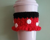 Crocheted Minnie Mouse Coffee Cup Cozy