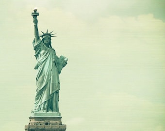 Statue of Liberty Photo - NYC Photography - Vintage, Green - New York City Photo - Lady Liberty - Vintage NYC Photo