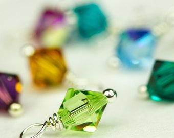6 mm Swarovski Birthstone Charm, Large, Swarovski Crystal Dangle, Wire Wrapped Bicone Crystal, Add on Birthstone Charm, Handmade