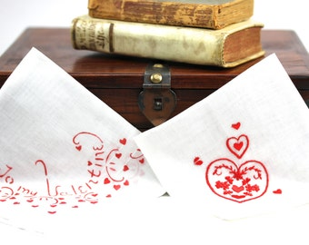 Two Embroidered Ladies' Handkerchiefs - Red and White Valentine's Day Hearts - Be My Valentine