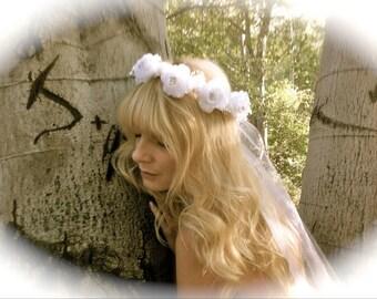 Wedding headband bridal flower white hair head piece accessories woodsy weddings