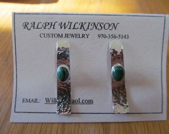 Sterling Silver and Malichite Hammered Earrings Post