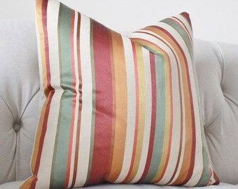 """Sale 25.00 20"""" or 18"""" Multicolor Burgundy Mauve Harvest Orange Gold Green Pillow Cover - Silk Rustic Stripe Pillow -  Wine GoldThrow Pillow"""