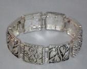 Silver Bracelet, Panel Bracelet, Stretch Bracelet, Engraved Square Panels, Alternating Pattern, Crystal Beads