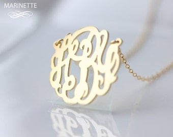 Monogram necklace  - 1 inch Personalized Monogram - Sterling silver 18k gold plated - FedEx shipping