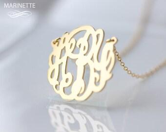 Gold monogram necklace  - Personalize necklace - Gold monogram - Bridesmaid gift - Custom necklace - Personalized jewelry - Custom monogram