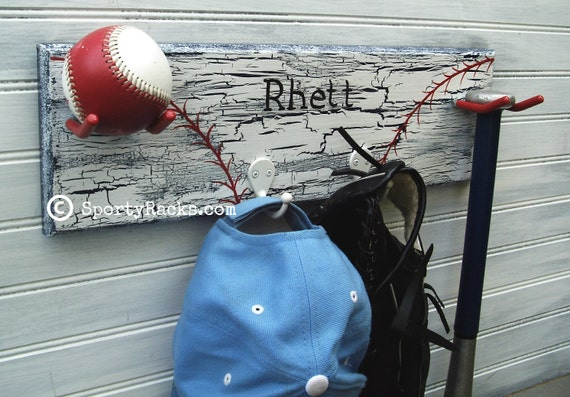 Softball Baseball  Kids Room Personalized Team Colors Ball Bat Glove Hat Hanging Wall Rack Made to Order