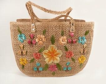 Handmade Vintage 60s 70s Mod Floral Shoulder Bag Tote Purse Market Bag XL