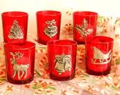 Christmas Red Votive Candle Holder Christmas Table Decor