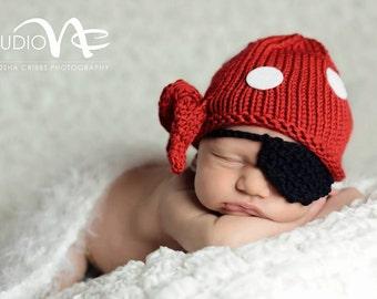 Baby Pirate Hat, Baby Boy Photo Prop,Newborn Photo Prop,Baby Pirate Costume, Pirate Baby Hat, Baby Boy Hat Pirate Costume,Baby Boy Knit Hat