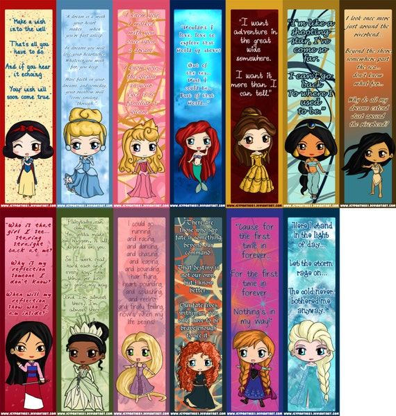 Princess Bookmarks - Disney Princess Chibi Bookmarks - Elsa, Anna ...