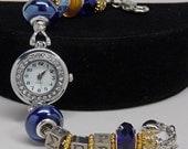SIGMA GAMMA RHO European Watch Bracelet Gold Royal Blue Sorority Greek Accessory Gift