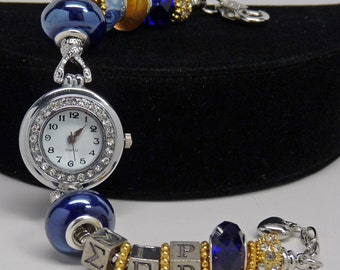 SIGMA GAMMA RHO European Watch Bracelet Gold Royal Blue Sorority Greek Accessory Gift