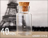 10 Glass Viles - 40mm Tall - Glass Jars with Cork Top - Cute little glass bottles for storing keepsakes and goodies.