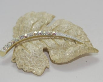 Vintage Brooch: Sassafras Leaf  Burnished Gold & Aurora Borealis Rhinestone Pin 1950s