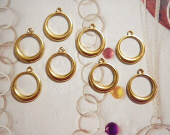 12 Goldplated 20mm Round Earring Hoops