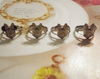 4 Silverplated Signed Mini Mouse Rings