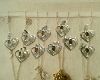 10 Silverplated Heart Pendants with Setting