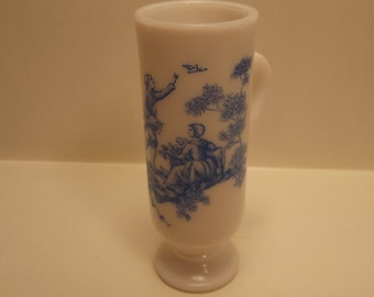 Vintage SKINNY Decorative AVON Milk Glass MUG