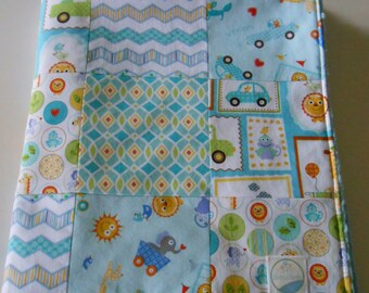 Baby Boy Minky Patchwork Quilt Blanket Free Spirit Happi Collection Aqua Yellow Green 2 Sizes--Made to Order