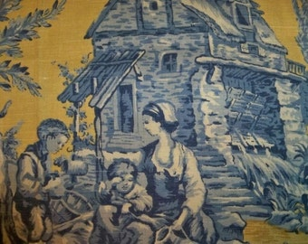 PIERRE DEUX Kravet AUMONT French County Toile Fabric 10 yards Yellow Blue