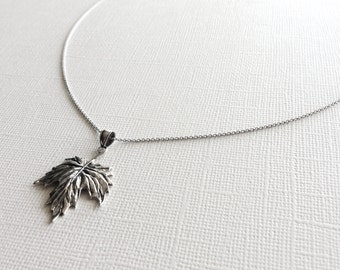 Autumn Leaf Necklace in Sterling Silver