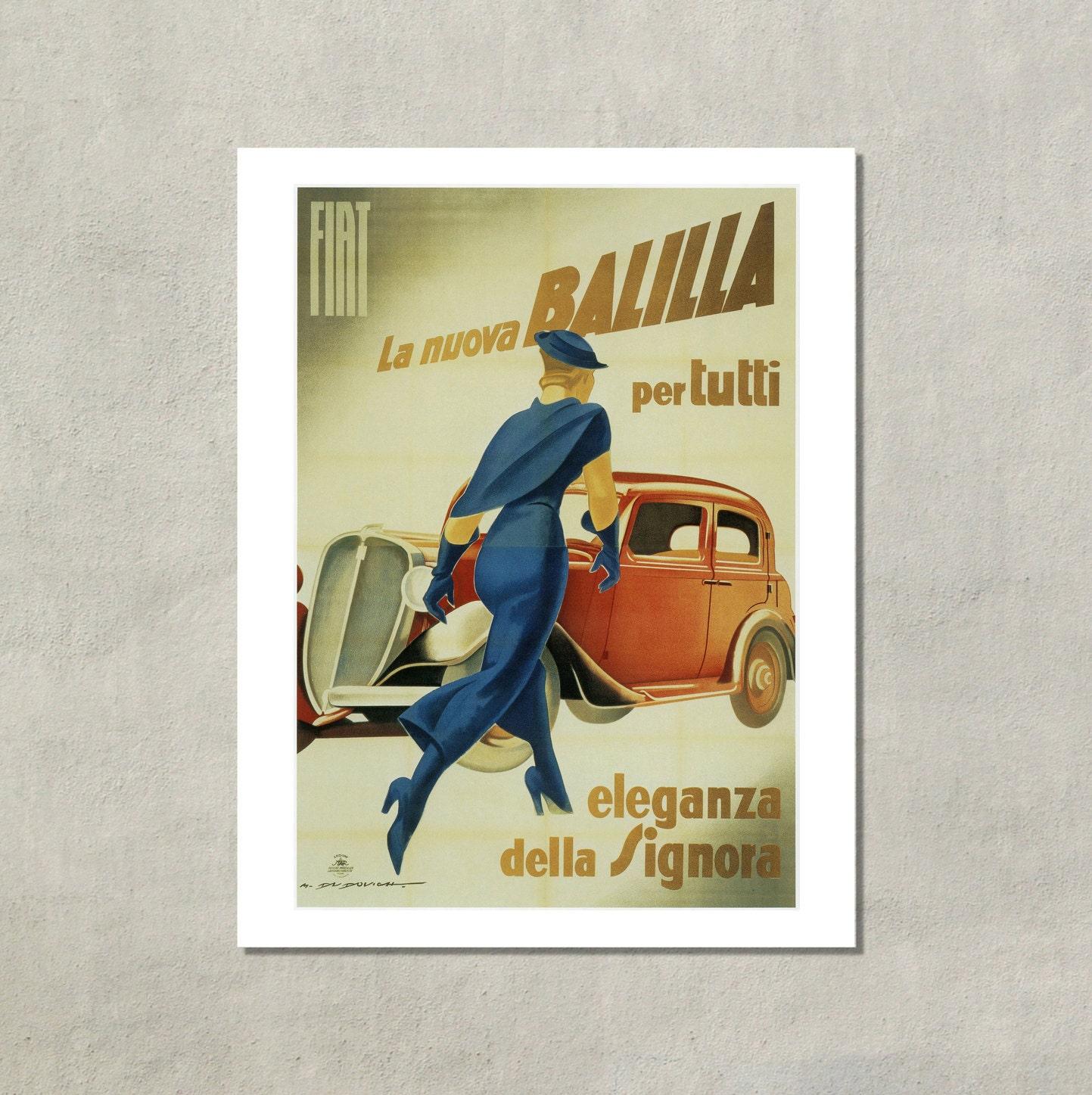 Eleganza Della Signora Retro Fiat Ad 1934 8 5 X 11 Vintage