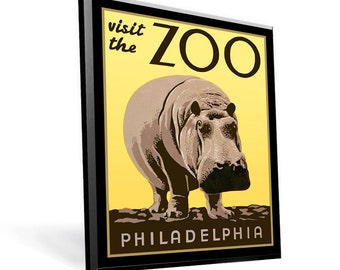 WPA Reprint Philadelphia Zoo Hippo on 9x12 PopMount Ready to Hang FREE Shipping (Contl US)