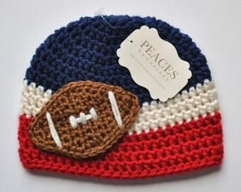 Football Beanie - Navy Blue, White & Red Baby Football Hat ( newborn gift preemie hat newborn costume babyshower newborn beanie baby hats )
