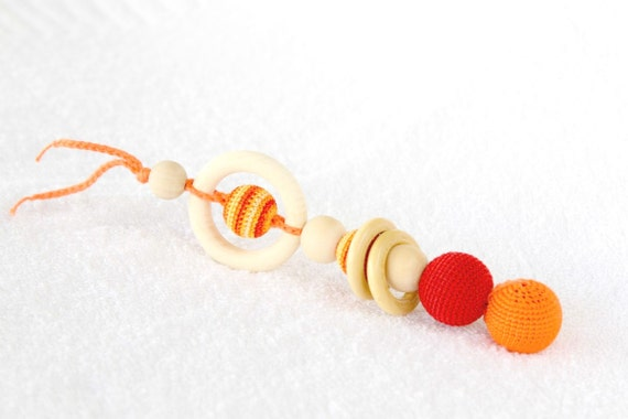 Red and orange Crochet Teether - Teething toy/Wooden rattle with crochet wooden beads and wooden rings
