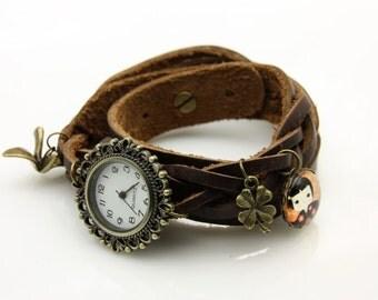 bracelet Brown leather strap little japan girl kokeshi