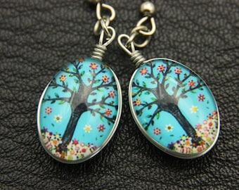 Tree earrings, double cabochon
