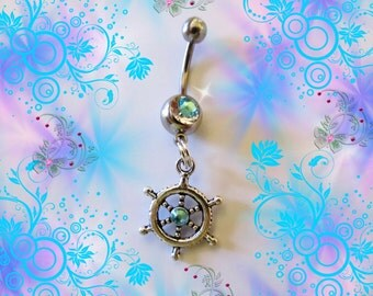 Belly Ring, Tibetan Silver Oceann Nautical Ship Stern Wheel with Aqua Sea Blue Crystals, Belly Button Jewelry,  For women or Teens