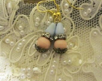 Shabby Chic Vintage Elemental Earrings, Assemblage Earrings,Mori Girl, Victorian Earrings, Downton Abbey Earrings, Edwardian Earrings