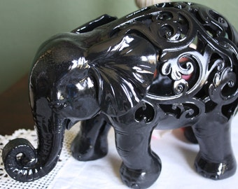 PICK YOUR COLOR Ornate Elephant Figurine / Home Decor / Animal Decor / Black