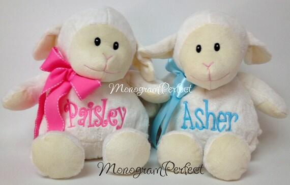 Personalized, Monogrammed White Plush Lamb Soft Toy Baby Gift