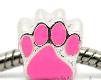 Pink Puppy Dog Or Kitty Cat Paw Print European Bead For European Bracelet And Necklace Chains - Gift Idea For Pet Owners