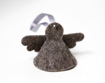 Small Xmas angel in wool felt (6 pieces) - Christmas ornament - grey, black silver