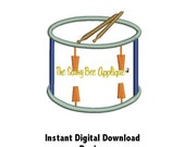 DD SNARE DRUM or Band Applique - Machine Embroidery Design - 3 Sizes - Digital Download