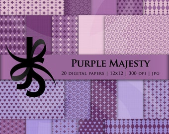 Digital Scrapbook Papers-Purple Majesty-Backgrounds-Wallpaper-Hearts-Flowers-Harlequin-Textured Papers-Patterns-Instant Download Clip Art