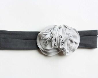 Gray Day Jersey Knit Flower Headband - Baby Headband - Fall Headband